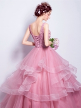 Flowers Lace Scoop Quinceanera Dress