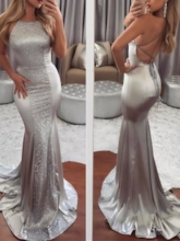 Mermaid Halter Backless Sequins Court Train Evening Dress