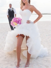 Sweetheart Pick-ups High Low Beach Wedding Dress