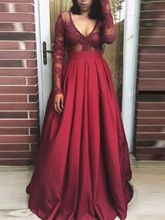 A-Line Appliques V-Neck Beading Pleats Long Sleeves Prom Dress