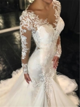 Button Back Appliques Mermaid Long Sleeves Wedding Dress