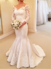 3/4 Length Sleeves Button Lace Mermaid Wedding Dress