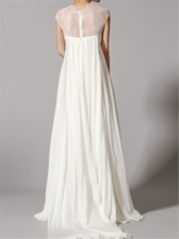 Cap Sleeve Ruched Empire Waist Lace Maternity Wedding Dress