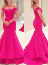 Ruffles Off-the-Shoulder Trumpet Evening Dress