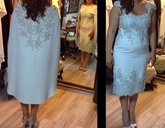 Column Appliques Tea-Length Mother of the Bride Dress with Cape