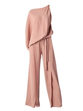 Inclined Shoulder Plain High-Waist Wide Legs Women's Jumpsuit