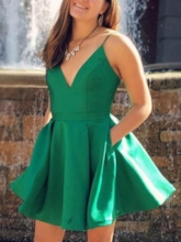 Spaghetti Straps Pockets Short Homecoming Dress