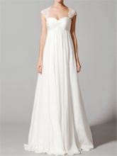 Lace Cap Sleeve Ruched Empire Waist Maternity Wedding Dress