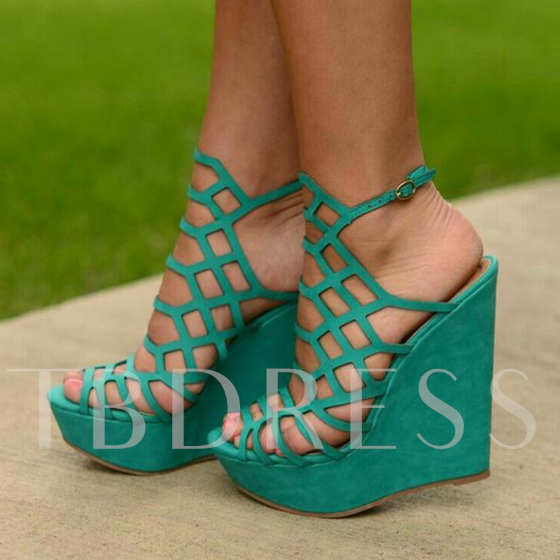 Image of Kelly Green Strappy Hollow Wedge Heel Sandals