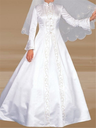 Islamic Embroidery Long Sleeve Muslim Wedding Dress
