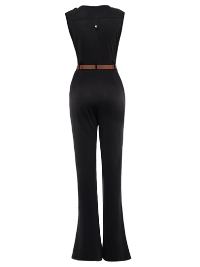 Solid Color Pleated Palazzo Women's Jumpsuit