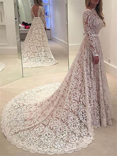 Low Back Lace Wedding Dress with Long Sleeve Low Back Lace Wedding Dress with Long Sleeve