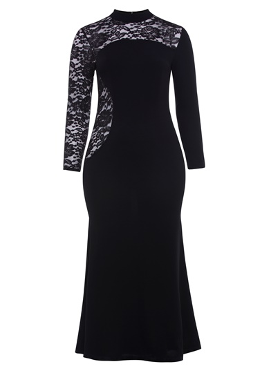 Black Lace Patchwork Plus Size Women's Maxi Dress