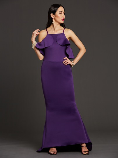 Purple Falbala Backless Women's Maxi Dress