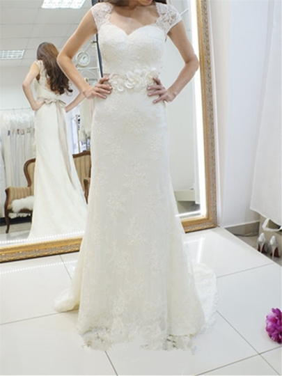 Lace Appliques Sashes Mermaid Wedding Dress