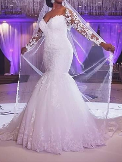 Appliques Mermaid Long Sleeve Plus Size Wedding Dress