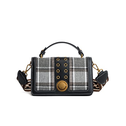 Trendy Plaid Color Block PU Cross Body Bag