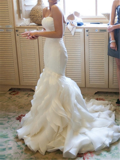 Sweetheart Tiered Ruffles Mermaid Wedding Dress