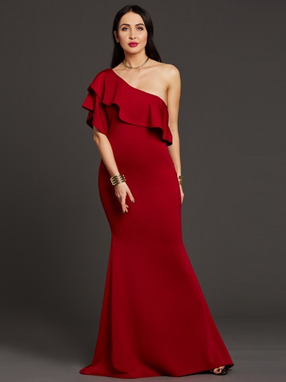 Plain One Shoulder Women's Maxi Dress