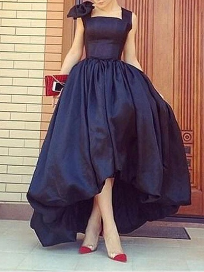 A-Line Square Bowknot Asymmetry Evening Dress
