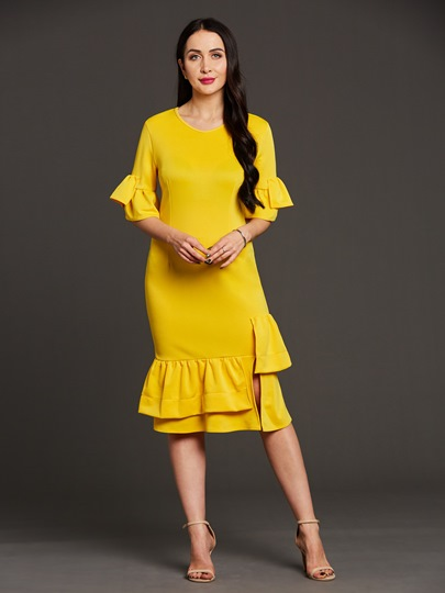 Yellow Half Sleeve Falbala Women's Bodycon Dress