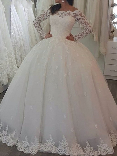 Appliques Ball Gown Wedding Dress with Long Sleeve Appliques Ball Gown Wedding Dress with Long Sleeve