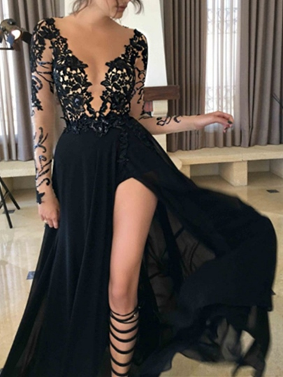A-Line V-Neck Long Sleeves Lace Split-Front Court Train Evening Dress