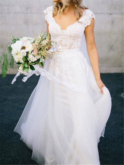 Lace Top Cap Sleeve Beach Wedding Dress