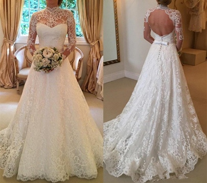 High Neck Long Sleeves Lace Backless Wedding Dress