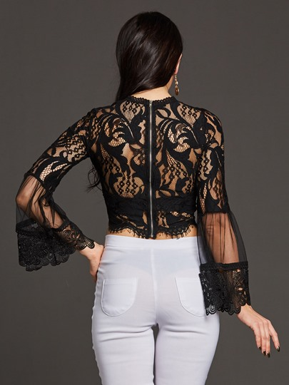 Sexy Hollow Lace Patchwork Women's Blouse