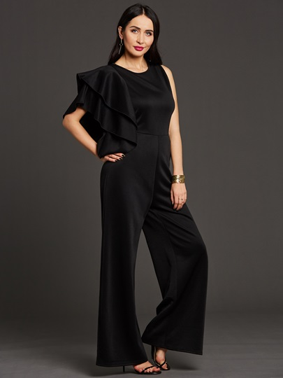 Asymmetric Falbala Pleated Women's Jumpsuit