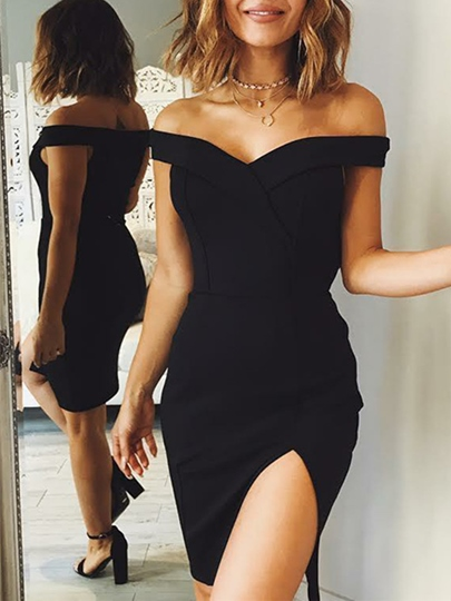 Off-the-Shoulder Sheath Split-Front Knee-Length Cocktail Dress