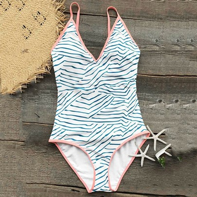 V-Neck Stripe Backless Monokini