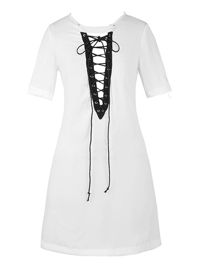 Front Lace-Up Mid Length Women's T-Shirt