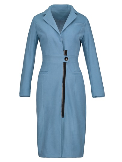 Long Wool Blends Zipper Women's Overcoat