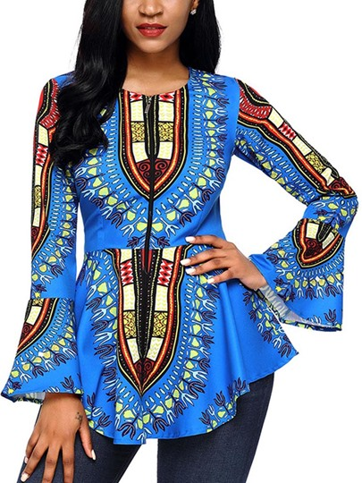 Dashiki Bell Sleeve African Print Women's Blouse