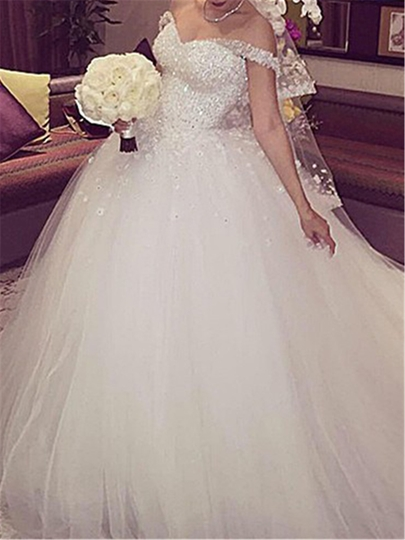 Sweetheart Straps Beading Lace-Up Court Train Wedding Dress