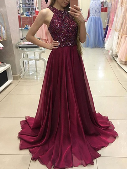A-Line Sleeveless Halter Beaded Sweep Train Prom Dress