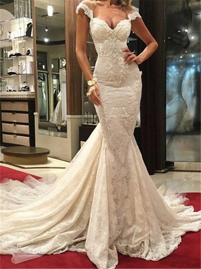 Cap Sleeve Appliques Lace Mermaid Wedding Dress