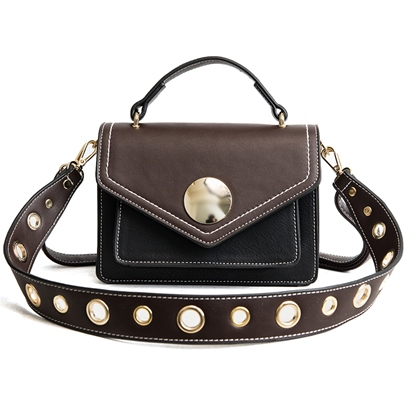 Stylish Color Block Rivet Cross Body Bag