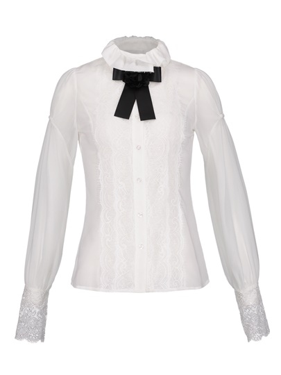 Lace Patchwork Lantern Sleeve Button Women's Blouse