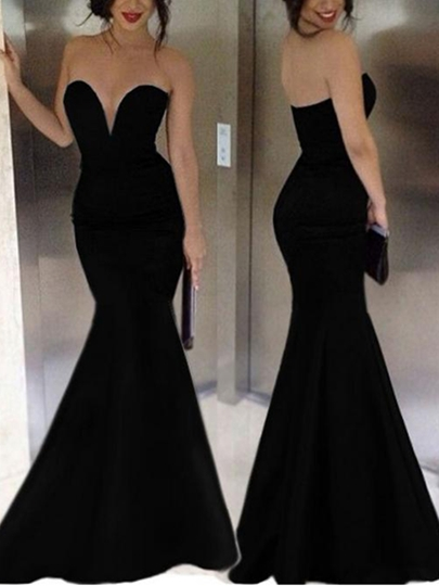 Mermaid Sweetheart Pure Color Floor-Length Evening Dress