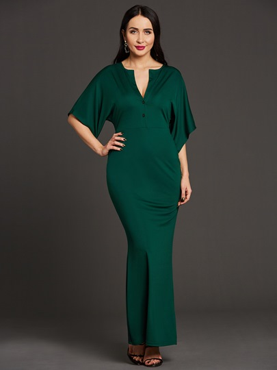 V Neck Batwing Sleeve Women's Maxi Dress