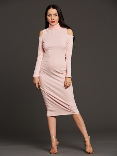 Cold Shoulder Turtle Neck Women's Bodycon Dress