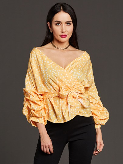 Polka Dots Lace-Up V-Neck Ruffle Sleeve Women's Blouse