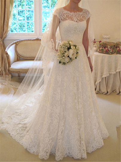 A-Line Cap Sleeves Lace Wedding Dress