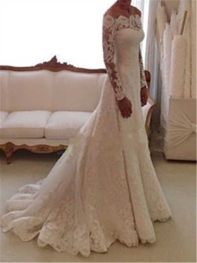 Trumpet Lace Long Sleeve Wedding Dress