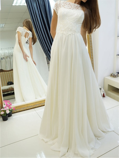 Short Sleeves Lace A-Line Wedding Dress
