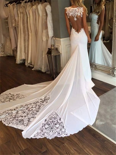 Chapel Train Backless Lace Mermaid Wedding Dress