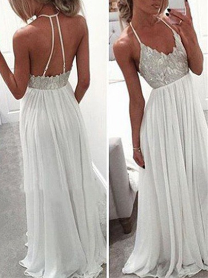 A-Line Backless Halter Appliques Floor-Length Prom Dress